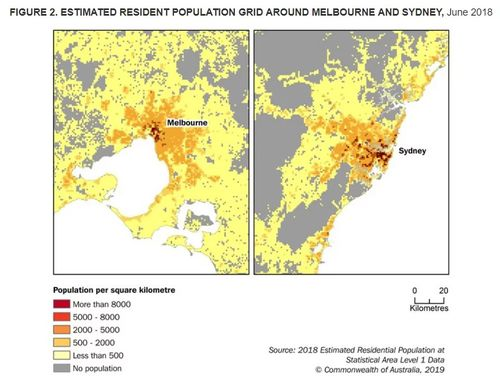 Estimated resident population grid around Melbourne and Sydney.