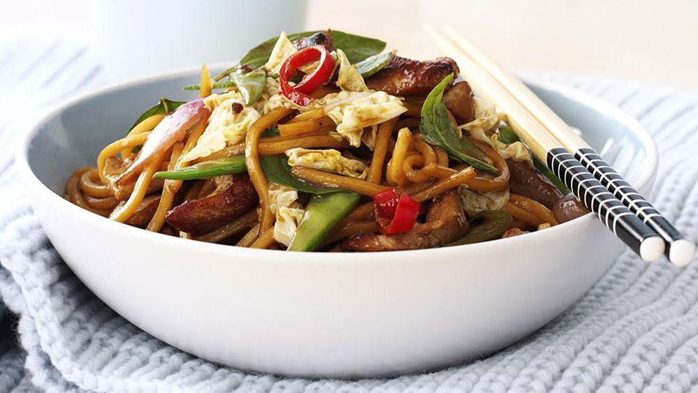 Pork noodle and Thai basil