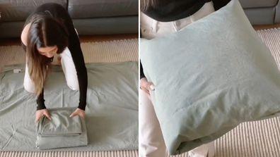Chantel Mila sheet folding hack