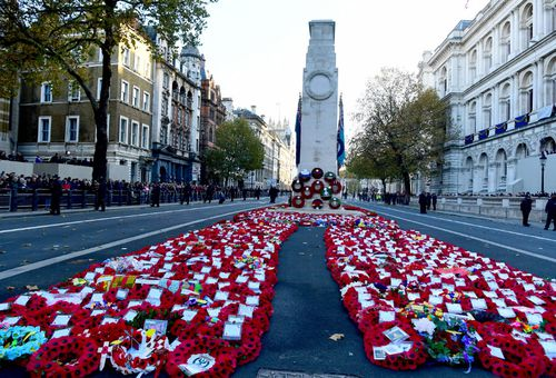 Remembrance Day tributes at the London Cenotaph.