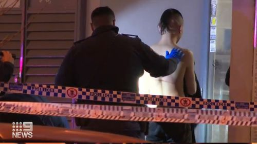 Police are hunting for seven men after a stabbing in Sydney's west.