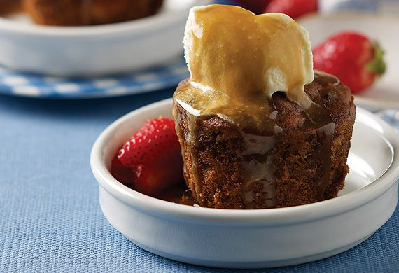 Rena Patten's mini sticky date puddings with caramel sauce