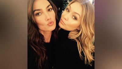 Lily Aldridge and Gigi Hadid sharaed this selfie on social media before they walked onto the runway. (Instagram)