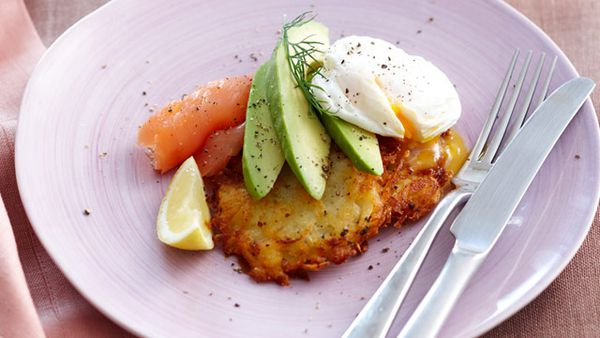 Avocado rosti with smoked salmon and eggs