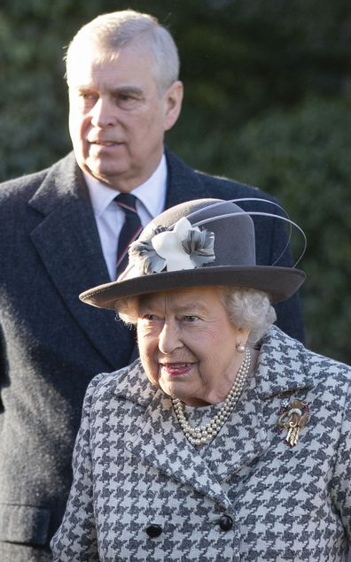 "Britain's Queen Elizabeth II and Prince Andrew arrive at St Mary the Virgin, in Hillington, England, to attend a Sunday church service, Sunday, Jan. 19, 2020. Buckingham Palace says Prince Harry and his wife, Meghan, will no longer use the titles ""royal highness"" or receive public funds for their work under a deal that allows them to step aside as senior royals.  (Joe Giddens/PA via AP)"