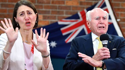 Gladys Berejiklian was campaigning in western Sydney with former PM John Howard today.