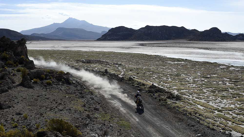 Toby Price rides near the world's largest salt flat, Salar de Uyuni, in Bolivia. (AFP)