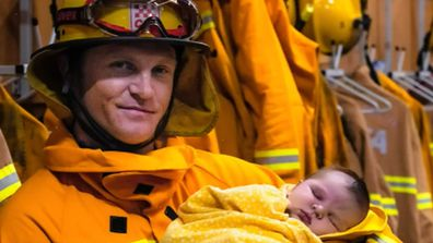 CFA firefighter nearly missed the birth of his son as he was fighting blazes