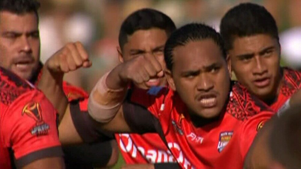 Tonga perform emotional Sipi Tau before Rugby League World Cup match against Scotland