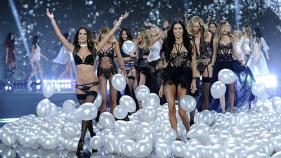 Victoria's Secret models are led onto the catwalk by fashion show favourites Alessandra Ambrosio and Adriana Lima. (AAP)