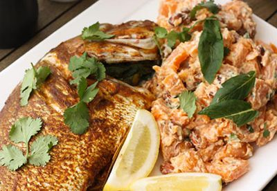 Barbecue snapper with potato salad