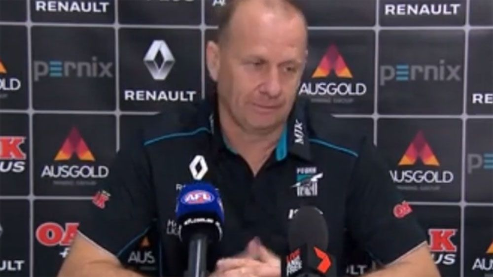 Port Adelaide coach Ken Hinkley says Charlie Dixon play-on call in Geelong loss was '100 per cent correct'