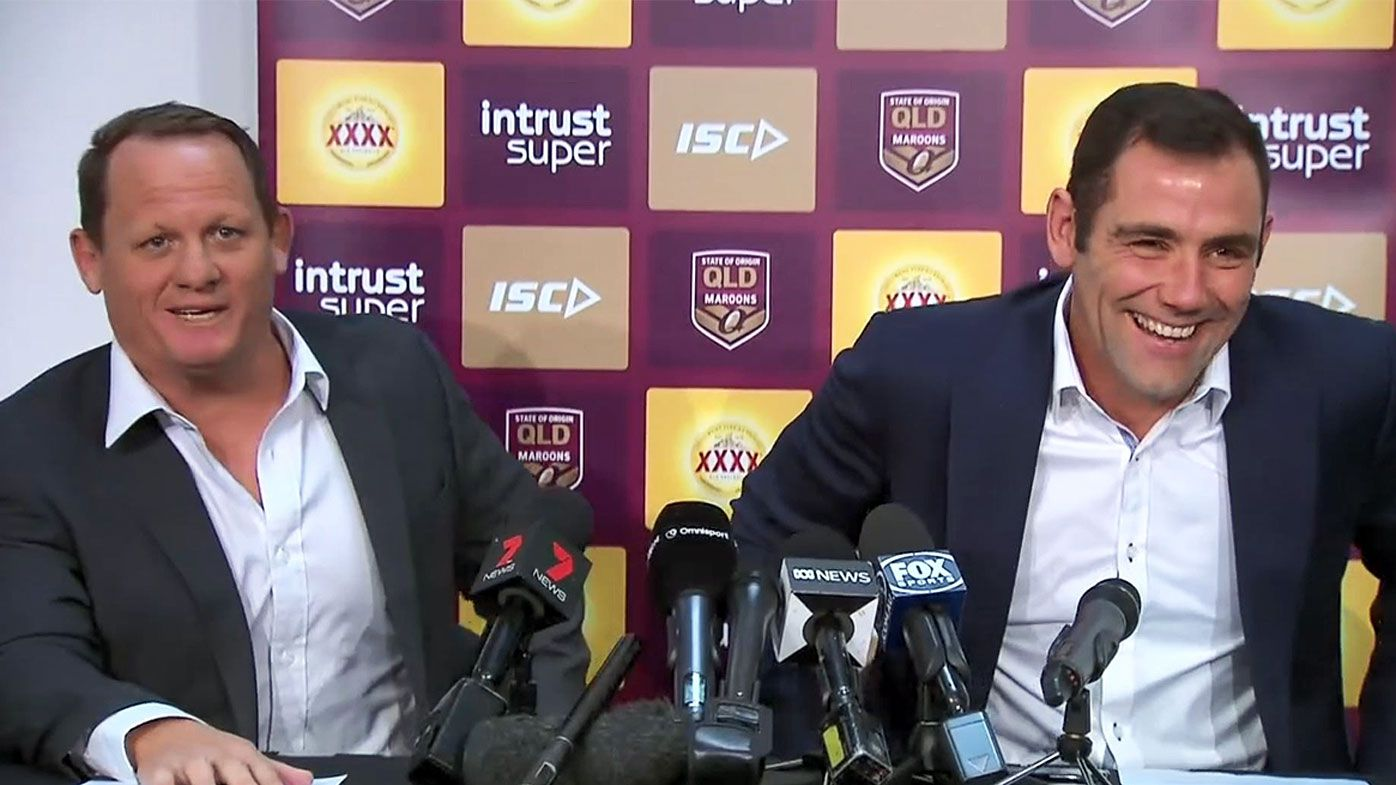 Kevin Walters cracks-up Cameron Smith's representative footy retirement press conference