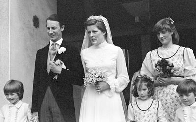 Princess Diana attends as a bridesmaid at her sister Lady Jane Spencer's wedding to Robert Fellowes in 1978.