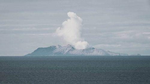 Whakaari/White Island as seen from the Bay of Plenty coast.