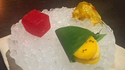 Marinated fresh fruit: mango sorbet with green ants, watermelon cubes and pineapple encased in dried hibiscus. (Instagram/maddsagram)