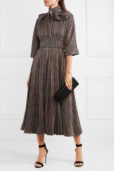 "Emilia Wickstead metallic dress, $2161.50 at <a href=""https://www.net-a-porter.com/au/en/product/981996/emilia_wickstead/striped-metallic-ribbed-knit-midi-dress"" target=""_blank"">Net a Porter</a><br />"