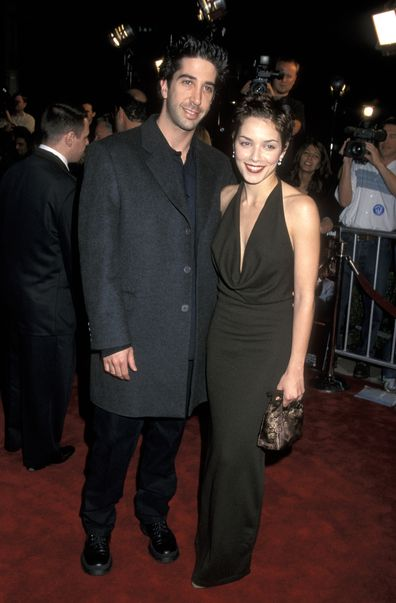 David Schwimmer and Mili Avital during Analyze This premiere in 1999.