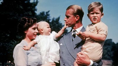 Queen Elizabeth with Prince Philip and their children, 1951<br>