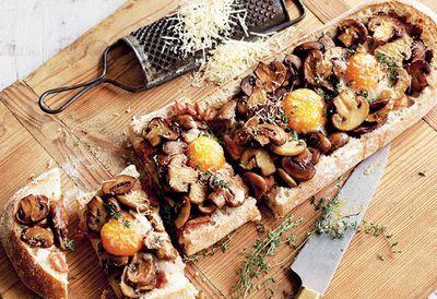 Mushroom, bacon and egg toastie