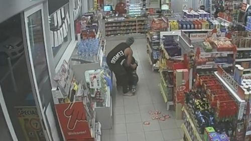 Security cameras captured the horrific attack inside a Derrimut service station. (9NEWS)