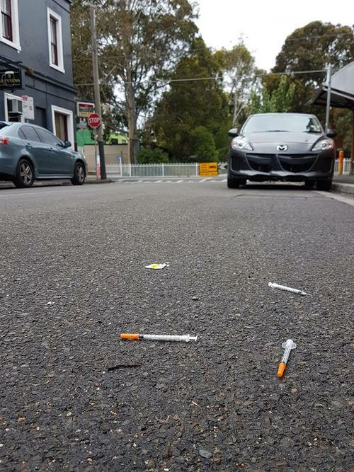Parents post photos of the streets around Richmond West public school since the injecting centre opened.