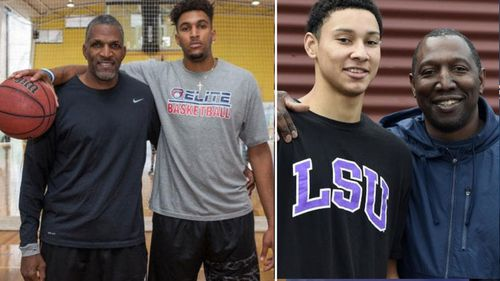 Jonah Bolden with his father Bruce and Ben Simmons with his dad Dave.