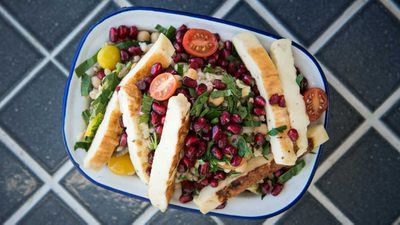 "Recipe:<a href=""http://kitchen.nine.com.au/2018/01/29/16/18/barley-and-haloumi-salad"" target=""_top""> Summer melt salad</a>"