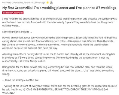The wedding planner took to Reddit to explain her unusual experience.