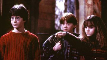 A scene 'Harry Potter and the Sorcerer's Stone' shows Harry Potter played by Daniel Radcliffe, left, Ron Weasley played by Rupert Grint, and Hermione Grainger, played by Emma Watson.