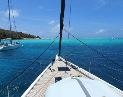 Anchored in Tabago Cays.