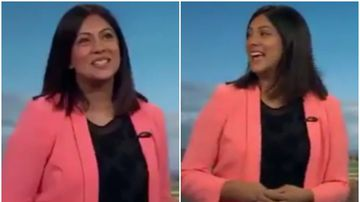 Weatherwoman has giggling fit after caption lists her as 'ex-offender'