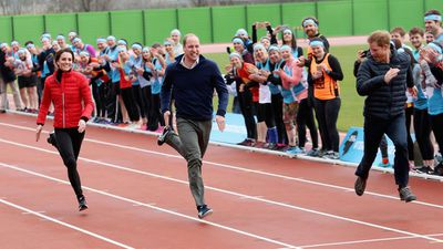 Prince William and Prince Harry get competitive at a London Marathon Training Day, 2017
