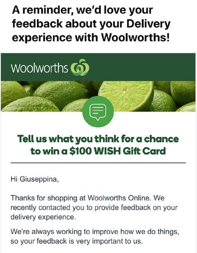 Woolies feedback
