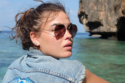 """Never one to follow the pack, Aussie model Bambi brings rock n roll to the beach with her cut-off denim jacket and bitchin' shades. <br/><br/>In BFF Lara Bingle's own Insta-words, """"With those distinctive eyebrows, mesmerising sea-green eyes and that expanse of tousled beach-chic hair, Bambi Northwood-Blyth is a Base all time favourite.""""<br/><br/>Instagram @mslbingle<br/>"""