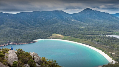 Wineglass Bay is located in Freycinet National Park, on Tasmania's east coast.
