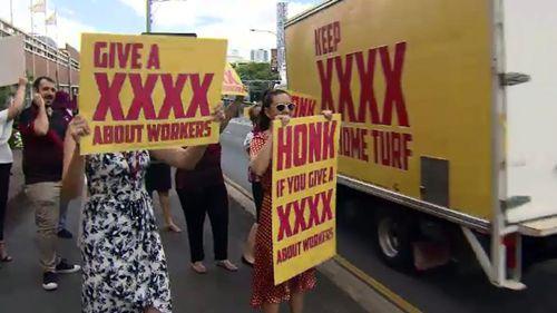 XXXX brewery staff protest after recent redundancies. (Image: 9NEWS)
