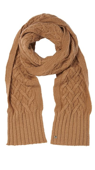 """<a href=""""http://www.mimco.com.au/shop/the-latest/glam-marathena-may/collect-a-cable-scarf-60177629-290"""" target=""""_blank"""">Collect-a-Cable Scarf, $129, Mimco</a>"""