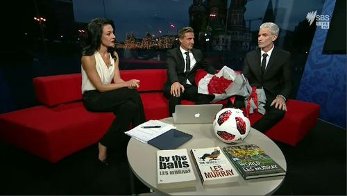 SBS World Cup presenters Lucy Zelic and Craig Foster have shared an emotional moment of appreciation with each other in the closing of their coverage. Picture: SBS.