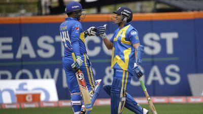 Tendulkar was reunited with former Indian teammate Virender Sehwag. (AFP)