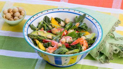 """Recipe: <a href=""""http://kitchen.nine.com.au/2017/01/31/10/48/lyndey-milans-macadamia-moment-mango-prawn-and-avacado-salad"""" target=""""_top"""">Lyndey Milan's macadamia moment mango prawn and avocado salad</a>"""