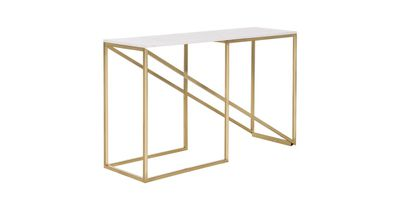 """<a href=""""https://www.freedom.com.au/furniture/living-room/consoles/15/23853218/nook-console-table-marble-and-gold-colour?gclid=EAIaIQobChMI2L_azKHb1gIVUB9oCh1HjQ0mEAQYBSABEgJOe_D_BwE&gclsrc=aw.ds"""" target=""""_blank"""">Freedom Nook Console Table, $799.</a>"""