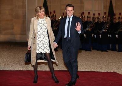 Brigitte Macron and husband, French Minister of Economy Emmanuel Macron, at The State Dinner in Honor Of King Willem-Alexander of the Netherlands and Queen Maxima at Elysee Palace in Paris, in March, 2016