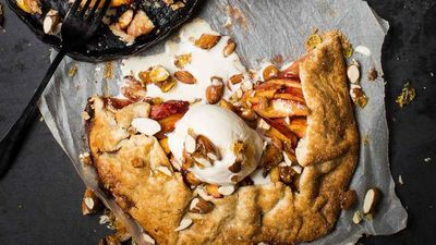 "Recipe: <a href=""https://kitchen.nine.com.au/2017/12/01/10/10/peach-galette"" target=""_top"">Gluten free peach galette with candied almonds</a>"