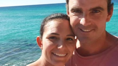 Matthew Tratt, pictured with his wife Kayla, was mauled to death by a shark.
