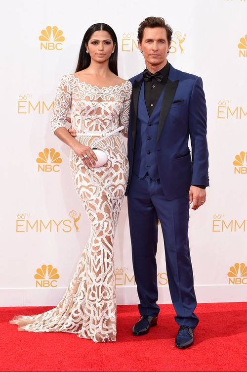 Camila Alves and Matthew McConaughey, nominated for his work on True Detective. (Getty Images)