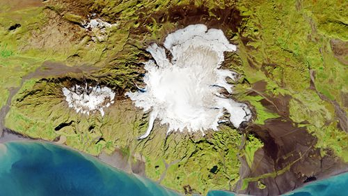 Satellite image of Katla volcano situated in Iceland. A new study has triggered debate in the science community over theories the volcano may soon erupt. (Getty)