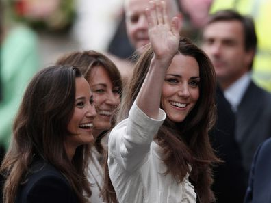 Catherine, Pippa and Carole Middleton arrive at The Goring Hotel after visiting Westminster Abbey on April 28, 2011.