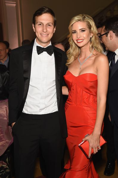Ivanka Trump and Jared Kushner attends the Bloomberg & Vanity Fair cocktail reception following the 2015 WHCA Dinner at the residence of the French Ambassador on April 25, 2015 in Washington, DC.