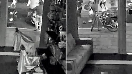 CCTV from inside a shop nearby recorded the moment a 25-year-old was knocked out cold.